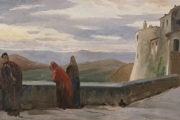 Pietro Aldi, Figure lungo le mura, olio su tavola, cm 17x30,4
